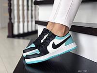 Кроссовки Весна Женские Белые с Мятой и Черным в стиле Nike Air Jordan 1 Low