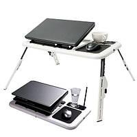 """Столик трансформер для ноутбука E-Table від 10 """"до 15,6"""", два вентилятора, USB, пластик, підставка для ноутбука, столик для ноутбуків"""