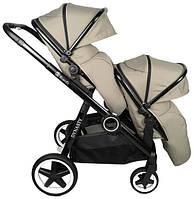 Детская прогулочная коляска Babyzz Dynasty для двойни с 2-мя прогулочными блоками (бежевая)