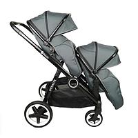 Детская прогулочная коляска Babyzz Dynasty для двойни с 2-мя прогулочными блоками (серая)