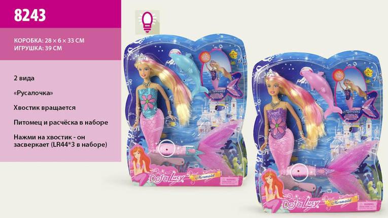 Кукла DEFA 28см 8243 русалка свет.хвост.лист.28*6*32,5 ш.к./12/, фото 2