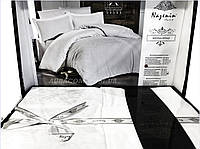 Постельный комплект, белого цвета из сатина с жаккардом, Nazenin, serena beyaz. Турция