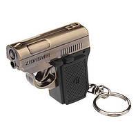 Брелок пистолет с лазерной указкой GUN YT-811 2в1 металл/пластик, красный лазер, LR44, лазерный проектор