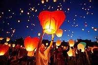 Небесный китайский летающий фонарик Купол из рисовой бумаги/бамбуковый каркас/горелка, китайские фонарики