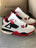 Белые кроссовки с красными вставками, фото 1