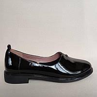 Женские кожаные лаковые туфли низкий ход