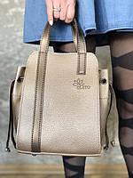 Женская большая сумка золотистая с косметичкой внутри из эко-кожи Alex