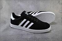 Черные замшевые кеды, криперы мужские в стиле Adidas gazelle (адидас газель)