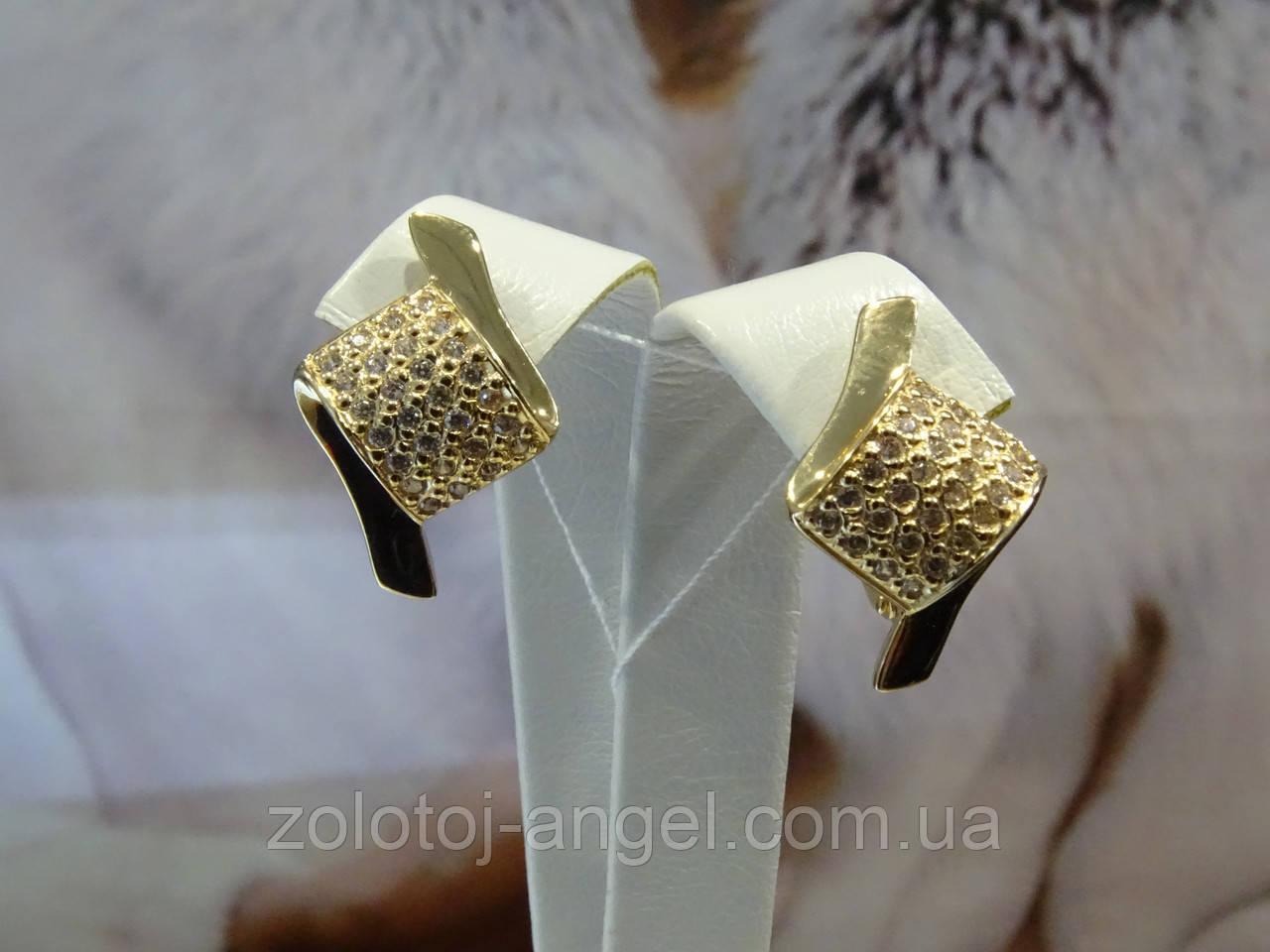 Серьги золотые с цирконием