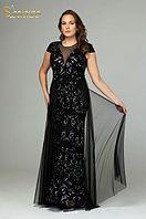 Шикарное длинное вечернее платье со шлейфом р.56-58, Турция Luxso