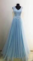 Вечернее длинное нарядное платье, голубое, с вышитым корсетом, на свадьбу, на выпускной