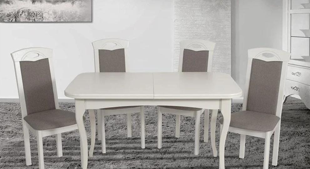 Кухонный белый комплект: стол и 4 стула -Мартин. Массив дерева.