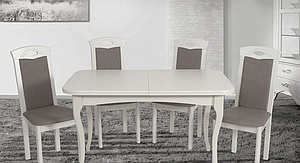 Кухонний білий комплект: стіл та 4 стільця -Мартін. Масив дерева.