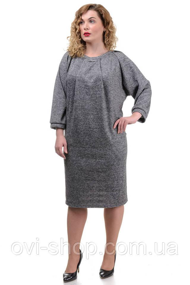 Серое платье большой размер