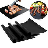 Антипригарний килимок гриль BBQ grill sheet розмір 33х40см, до 260 град, чорний, склотканина, антипригарний килимок для гриля