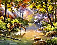 """Набор алмазной вышивки (мозаики) """"Олени у реки"""""""