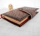 Обложка блокнот ежедневник кожа натуральная ручной работы формат листов А5 на кнопке, фото 4