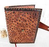 Обложка блокнот ежедневник кожа натуральная ручной работы формат листов А5 на кнопке, фото 5