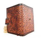 Обложка блокнот ежедневник кожа натуральная ручной работы формат листов А5 на кнопке, фото 9