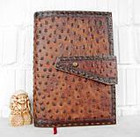 Обложка блокнот ежедневник кожа натуральная ручной работы формат листов А5 на кнопке, фото 10
