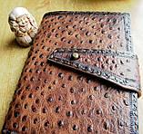 Обложка блокнот ежедневник кожа натуральная ручной работы формат листов А5 на кнопке, фото 6
