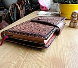 Обложка блокнот ежедневник кожа натуральная ручной работы формат листов А5 на кнопке, фото 7