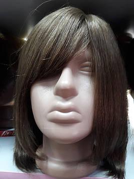 Парик натуральные волосы русый каре