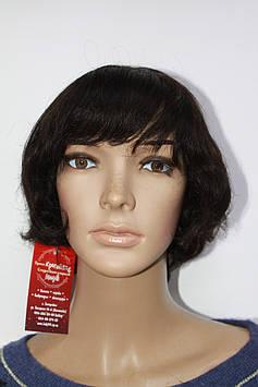 Натуральный парик черный имитация кожи головы короткие кудри