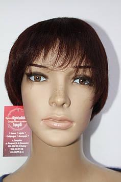 Парик натуральный светло коричневый имитация кожи головы короткая стрижка