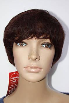 Натуральный парик светло коричневый имитация кожи головы стрижка короткая с челкой