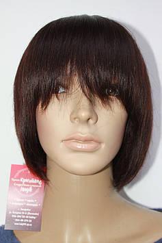Натуральный парик светло коричневый имитация кожи головы каре