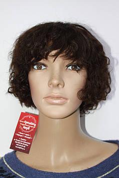 Натуральный парик имитация кожи головы короткая стрижка кудри шоколад