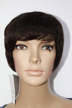 Парик натуральный имитация кожи головы короткая стрижка шоколад