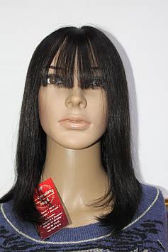 Натуральный парик черный имитация кожи длинные волосы с челкой моно сетка