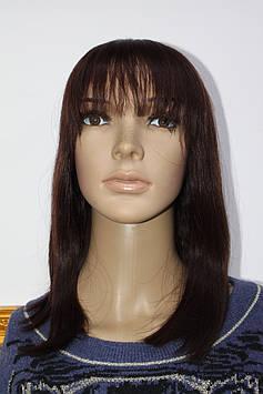 Натуральный парик светло коричневый имитация кожи головы каре длинное