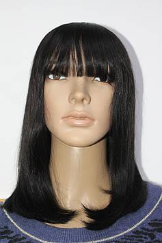 Натуральный парик черный имитация кожи головы каре