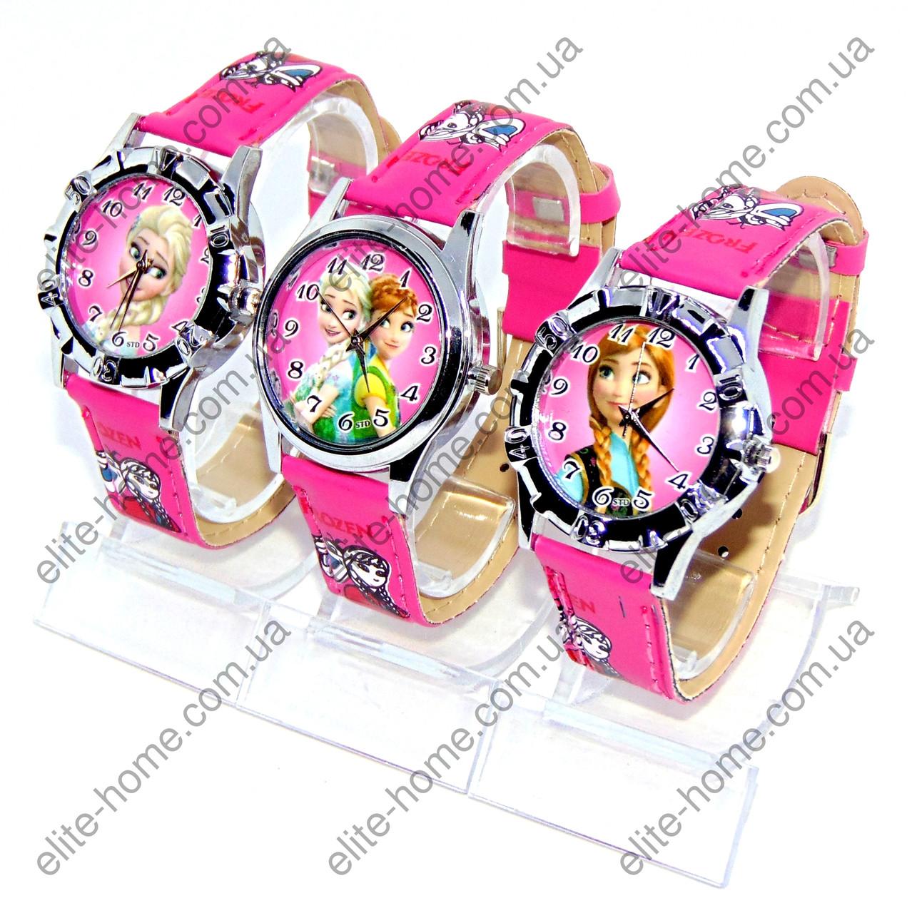 """Дитячі наручні годинники """"Холодне серце"""" в подарунковій упаковці (малиновий ремінець, 2вида)"""