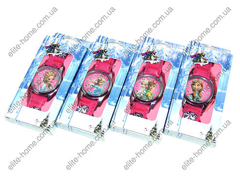 """Дитячі наручні годинники """"Холодне серце"""" в подарунковій упаковці (малиновий ремінець, 2вида), фото 2"""