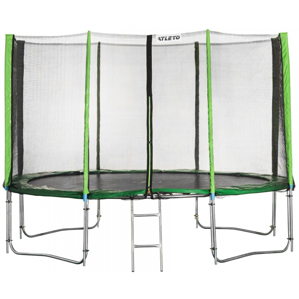 Батут Atleto 465 см с двойными ногами с сеткой зеленый (3 места)