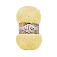 Плюшевая пряжа Ализе софти плюс Alize Softy Plus желтого цвета 13