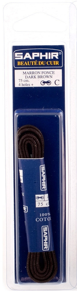 Saphir шнурки тонкие / вощенные / темно-коричневые 75 см