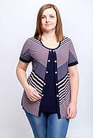 Женская летняя блуза Вставка. Размер 50-56