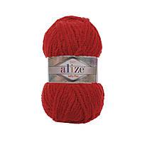Плюшевая пряжа Ализе софти плюс Alize Softy Plus красного цвета 56