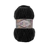 Плюшевая пряжа Ализе софти плюс Alize Softy Plus черного цвета 60