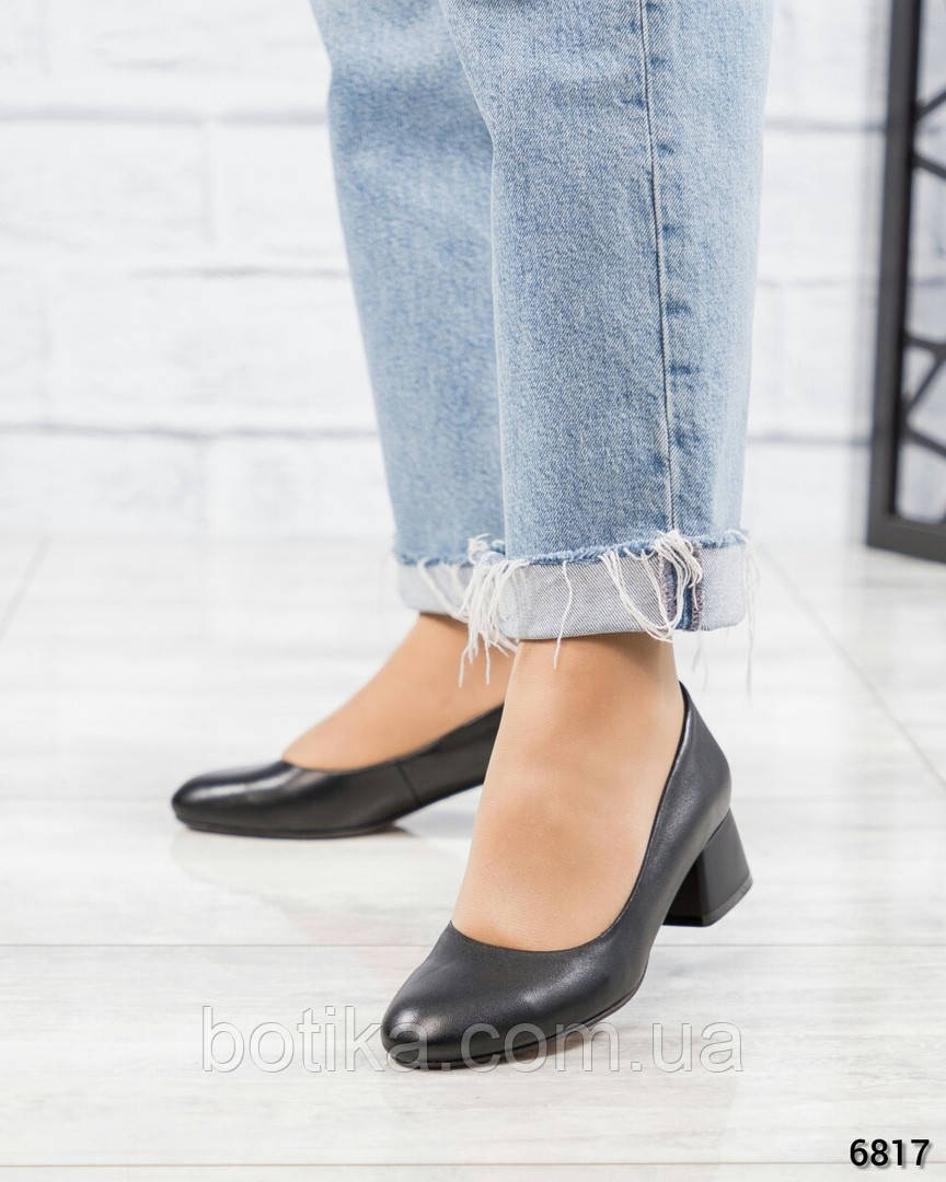 Элитная коллекция! Классические черные туфли на каблуке черные