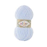 Плюшевая пряжа Ализе софти плюс Alize Softy Plus светло голубого цвета 183