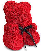 Мишка из роз с бантиком Сream размер 25см, красный, из искусственных 3d роз, в коробке, подарок для девушки