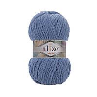 Плюшевая пряжа Ализе софти плюс Alize Softy Plus джинсвого цвета 374