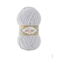 Плюшевая пряжа Ализе софти плюс Alize Softy Plus светло серого цвета 500