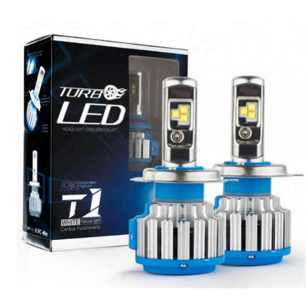 Комплект LED ламп TurboLed T1 H4 6000K 50W 12/24v CanBus з активним охолодженням